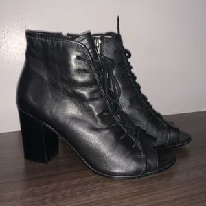 Black Leather Steve Madden High Heel Boots